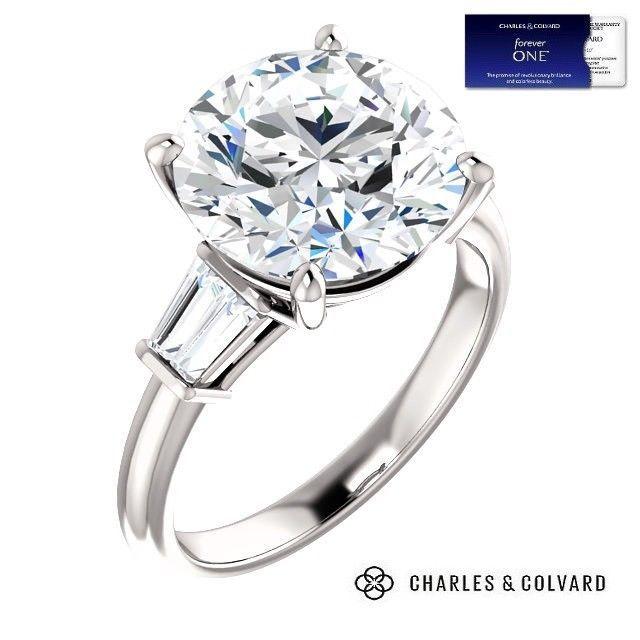 5.10 Carat Moissanite Forever One DEF VVS1 Ring 14K Gold (Charles & Colvard)