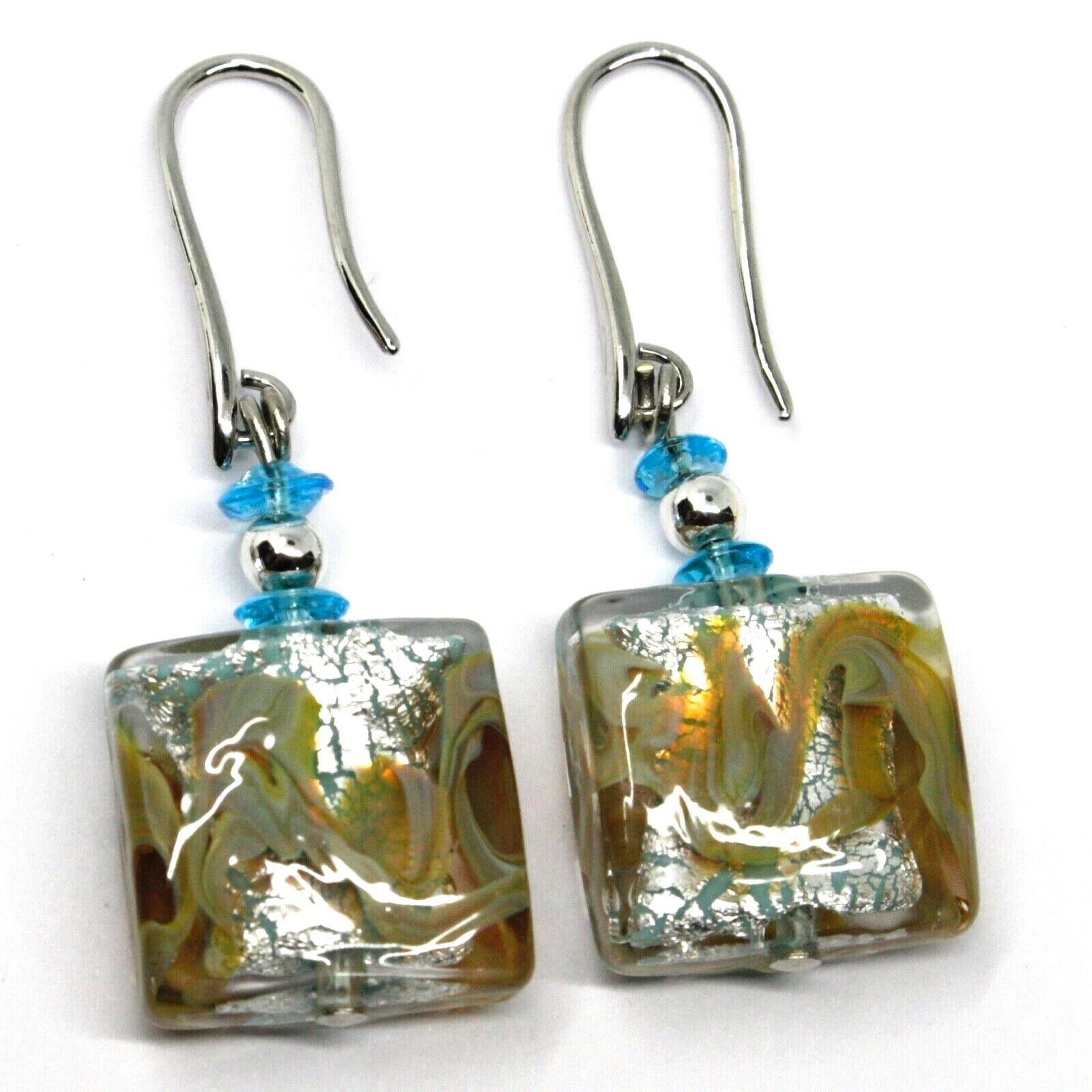PENDANT EARRINGS WITH AZURE MURANO SQUARE GLASS & SILVER LEAF, MADE IN ITALY