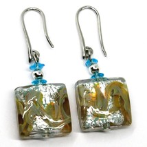 PENDANT EARRINGS WITH AZURE MURANO SQUARE GLASS & SILVER LEAF, MADE IN ITALY image 1