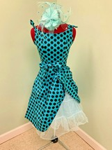 1950 rockabilly teal black polka dot dress (s) crinoline costume hair piece - $79.07