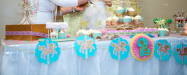 Carousel horse birthday banner, aqua, pink and gold, custom. Carousel pa... - $29.99