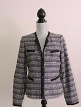 Anne Klein Blazer Jacket Black White Career Work Professional Top Textur... - $32.29