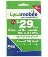 Lycamobile $29 Plan Preloaded 2 Months SIM  5GB 4G LTE Data Unlimited Ta... - $23.75