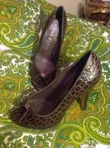 Anne Klein New York Heidi Brown 7M Croc Print Leather Open Toe Pumps Mrsp $104 - $39.59