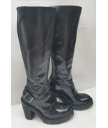 Doc Dr.Martens Womens Boots Lyanna Polished Knee High Tall Black Leather... - $140.24