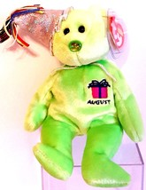 TY BEANIE BABIES 2002 SN 4547 August the Birthday Bear 2nd Series RETIRE... - $9.65