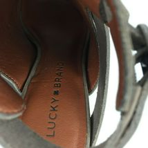 """LUCKY BRAND """"Harum"""" Taupe Bridle LeatherPeep Toe Open Back Booties Size 8 Med image 9"""