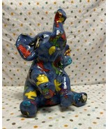 Whimsical Colorful Ceramic Elephant Bank Blue Red Yellow Green Purple - $22.00