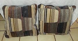 Pair of Brown Tan Cream Abstract Print Pillows  20 x 20 - $59.95