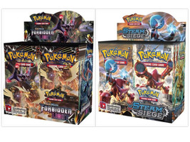 Pokemon TCG Sun Moon Forbidden Light + Steam Siege Booster Box Card Game Bundle - $214.99