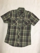 G By Guess Casual Button Down Shirt Size M Green Brown Short Sleeve - $13.84