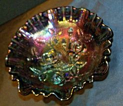 Imperial Hand Crafted Purple Carnival Glass 3 Footed Candy Dish Bowl AA19-CD0039 image 6