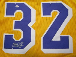 MAGIC JOHNSON / NBA HALL OF FAME / AUTOGRAPHED LAKERS YELLOW CUSTOM JERSEY / COA image 3