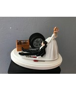 Cake Topper Wedding Day Bride Groom Funny Auto Mechanic Grease Monkey Th... - $60.99