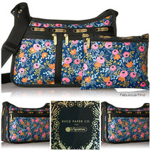 LeSportsac Rifle Paper Co Rosa Deluxe Everyday Bag + Cosmetic Bag Free S... - $94.50