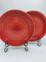 Royal Norfolk Dinner Plate RNF37 Set Of 2 Red Swirl Embossed Rings Coupe Euc - $15.62