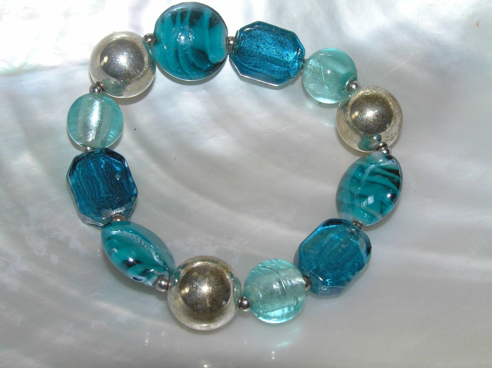 Estate Shades of Aqua Blue Glass & Silvertone Bead Stretch Bracelet – will fit