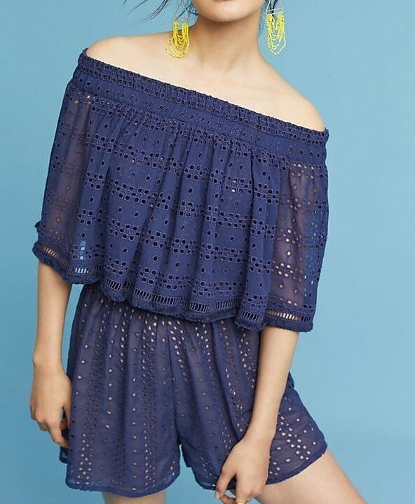 Anthropologie Tiered Eyelet Off-The-Shoulder Romper  by Ranna Gill $148 XL - NWT