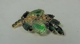 Vintage Gold Tone Green Glass & Rhinestone Leaf Pin Brooch - $22.76