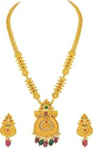 New South Indian Gold Plated Multi-Color Necklace Set Bollywood Fashion ... - $29.46