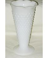 Anchor Hocking Hobnail Pattern Milk Glass 9 1/2-inch Ruffled Edge Flower... - $14.80