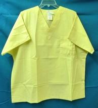 Unisex Scrub Top Lemon Drop Yellow V Neck Saraswear Large Medical Unifor... - $21.31