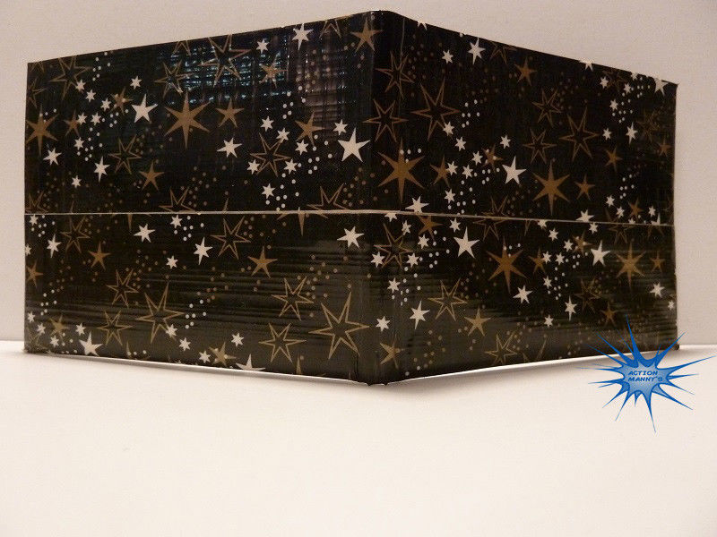 Handmade duct tape wallet Black with silver and gold stars all over it