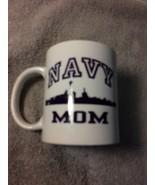"""NAVY MOM""  COFFEE MUG / CUP--ORCA COATINGS--WHITE / BLUE-----FREE SHIP-... - $12.92"
