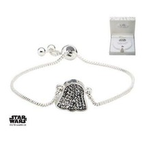 Disney Star Wars Stainless Steel Silver Plated  Darth Vader  with Clear Gem Brac - $32.20