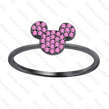 Mickey Mouse Pink Sapphire 14k Black FN 925 Sterling Silver Fashion Ring... - $59.99