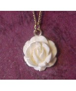 Dainty white Cut Carved Rose necklace fine 12K ... - $9.00