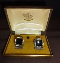 Vintage 1960's Cuff Links Tie Tack Set Black Onyx Velvet Interior Faux W... - $21.78