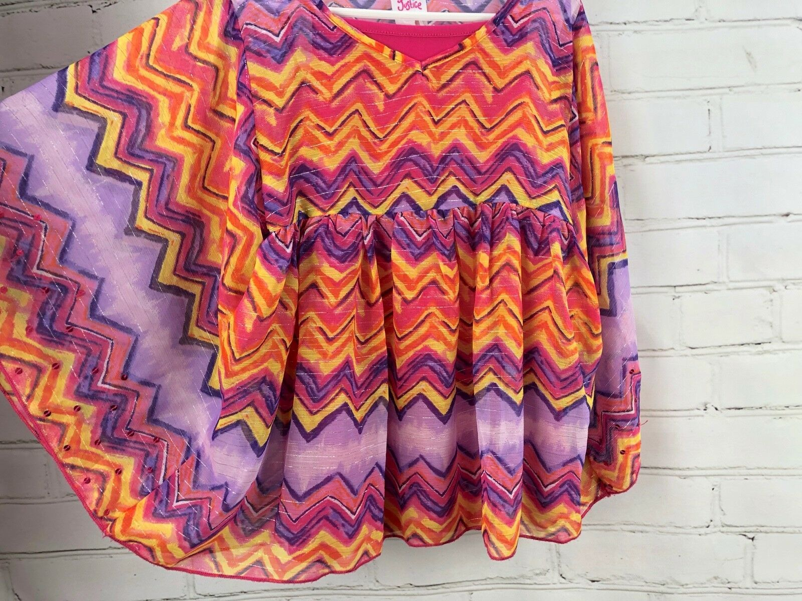 Justice Outfit Set - Boho Flowing Loose Poncho Top + Jean Skirt Skort Sz 10 image 8