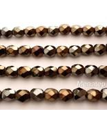 25 6mm Czech Glass Firepolish Beads: Iris - Brown - $1.51