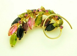 JULIANA D&E Purple Pink Green Glass Flower Enamel Rhinestone Pin Brooch ... - $89.09