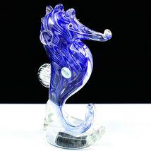 Dynasty Gallery Handmade Blue Seahorse Glow in the Dark Art Glass Figurine image 4