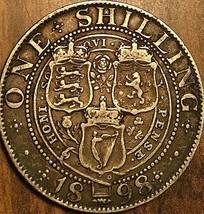 1898 UK GREAT BRITAIN VICTORIA SILVER SHILLING COIN - $16.99
