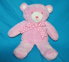 "Pink Plush Teddy Bear Rattle 13"" Polka Dot Bow Soft Baby Girl Toy Sewn Eye Lovey - $19.32"