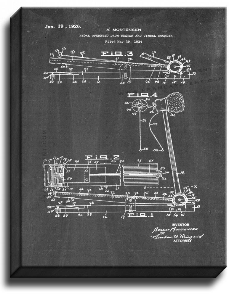 Primary image for Pedal-operated Drum Beater and Cymbal Sounder Patent Print Chalkboard on Canvas