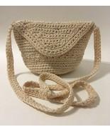 Beige Crocheted Knit Purse Shoulder Bag Handbag Cream Hand Made Signed L... - $26.00