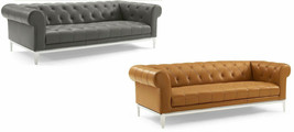 Chesterfield Sofa Genuine Top Grain Soft Gray or Tan Leather Diamond Tufted - $1,444.41+