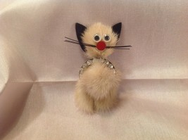 """KITTY"" FUR BROOCH, OH SO ADORABLE, 3"" TALL, RHINESTONES AROUND BELLY, V... - $4.88"