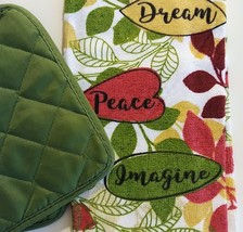 KITCHEN LINENS SET 4pc Towels Potholders Dream Peace Imagine Green Red image 6