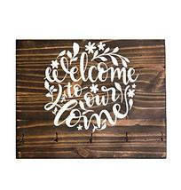 Welcome To Our Home Solid Pine Wall Plaque with Keychain Hooks - $30.20