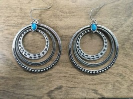 *Premier Designs Jewelry Around Town Earrings Silver Plated Hoops Faux T... - $17.82