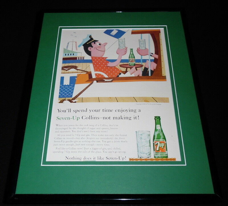 Primary image for 1958 Seven Up 7 Up Collins 11x14 Framed ORIGINAL Vintage Advertisement