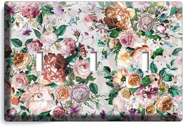 Victorian Floral Pattern Roses Peonies 3 Gang Light Switch Wall Plate Room Decor - $16.19