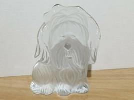 Viking Glass Crystal Satin Scottie Dog Bookend Paperweight Figurine w/ sticker - $18.69