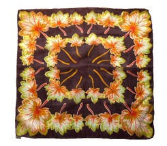 "Vintage 100% Silk Brown Autumn Leaf Scarf Golden Green Leaves 23"" Made i... - $18.90"
