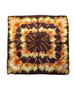 """Vintage 100% Silk Brown Autumn Leaf Scarf Golden Green Leaves 23"""" Made i... - $18.90"""